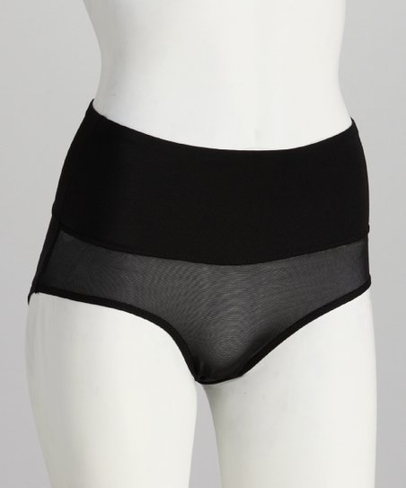 Black Power Mesh Shaper Briefs - Women & Plus