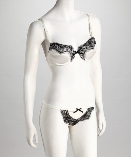 Antique White & Black Burlesque Fantasy Bra & Thong