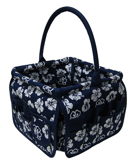 Navy Blue Tropical Square Stuff Bucket