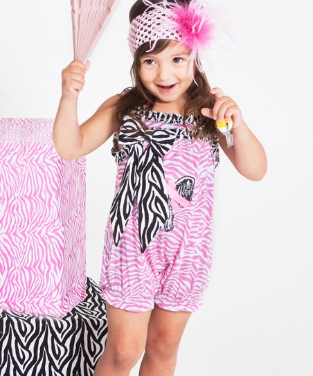Pink & Black Zebra Ruched Bubble Romper - Infant & Toddler