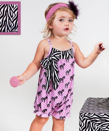 Pink & Black Zebra Polka Dot Bubble Romper - Infant & Toddler