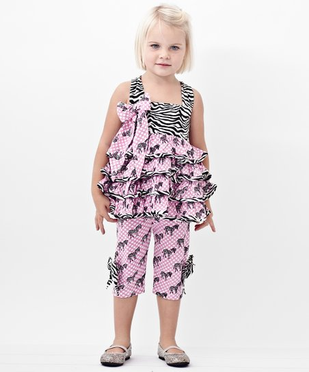Zebra Ruffle Tunic & Capri Leggings - Infant