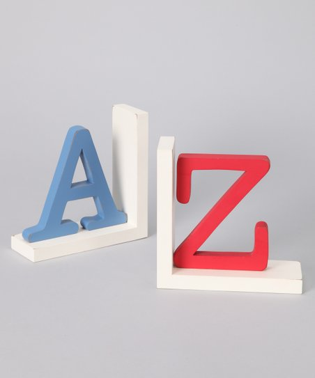 New Arrivals Blue & Red 'A' & 'Z' Bookend Set