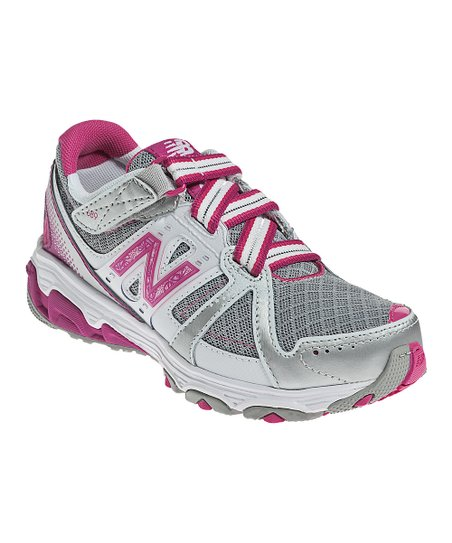 Silver & Pink Grade School KV689 Running Shoe - Kids