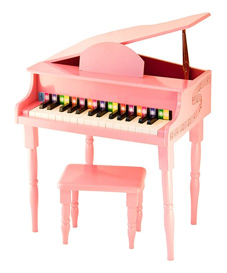 Pink 30-Key Toy Piano & Bench