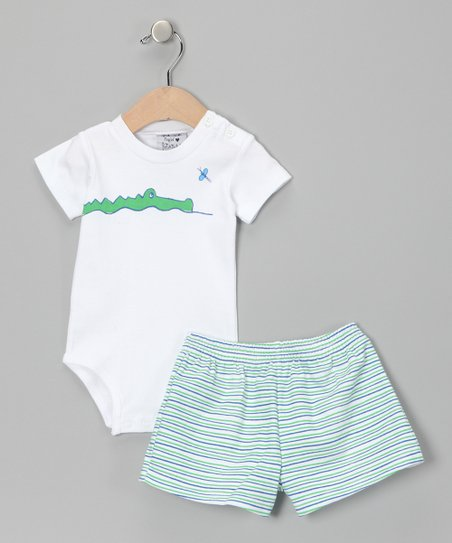 White &amp; Green Gator Bodysuit &amp; Shorts - Infant &amp; Toddler