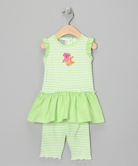 Green Kitten Mermaid Ruffle Dress & Leggings - Infant