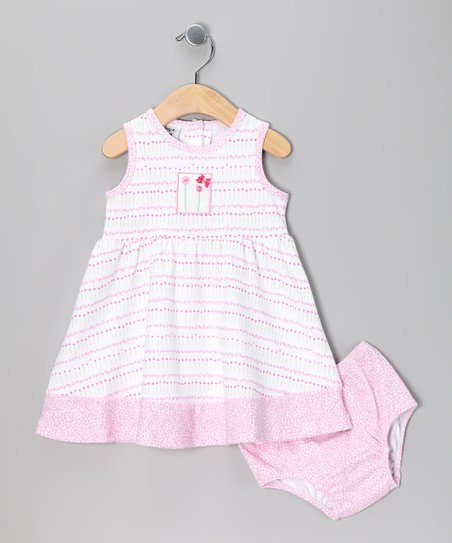 Pink Tiny Flower Dress & Diaper Cover