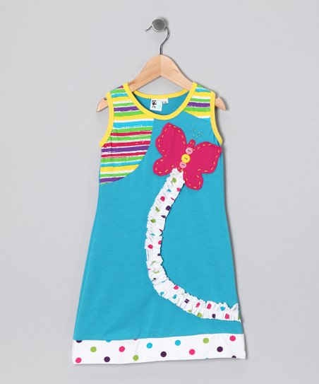 Blue Butterfly Shift Dress - Toddler