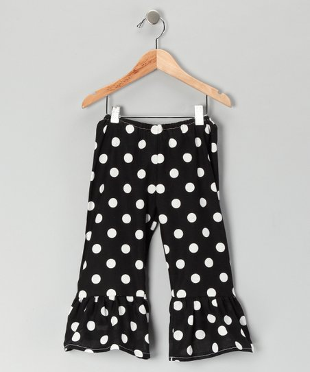 Black Polka Dot Ruffle Pants - Toddler & Girls