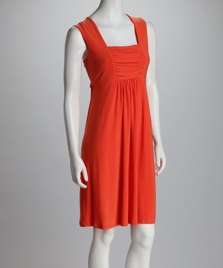 Tangerine Shirred Dress - Women & Plus