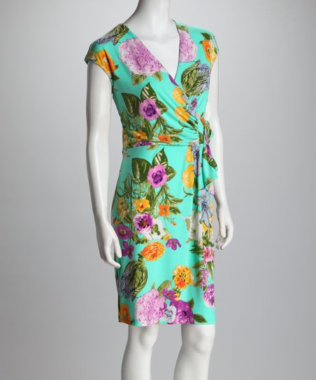Aqua Peony Faux Wrap Dress - Women
