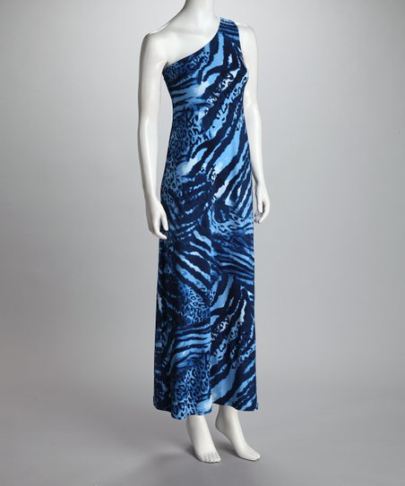 Blue Zebra Asymmetrical Maxi Dress - Women