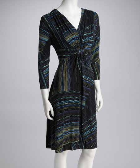 Blue Zigzag Swirl Dress - Women