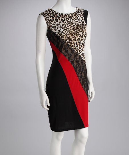 Red & Gray Cheetah Color Block Sleeveless Dress - Women