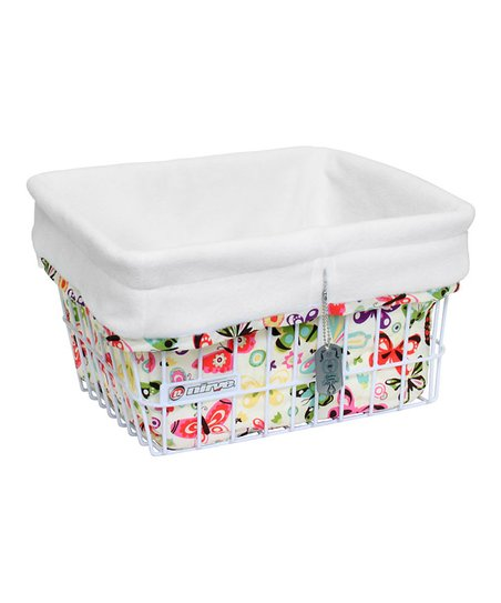 White Flower & Butterfly Basket Liner/Tote Bag