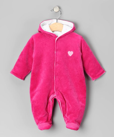 Hot Pink Heart Velour Bunting - Infant