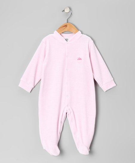Light Pink & White Stripe Cupcake Velour Footie - Infant