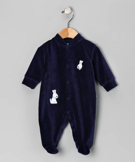 Navy Doggie Velour Footie - Infant
