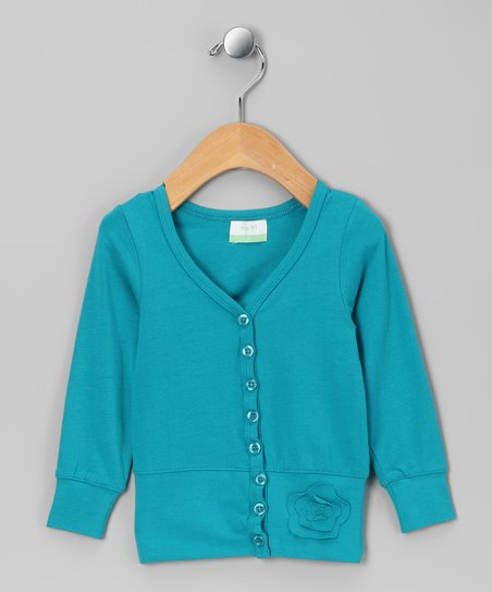 Teal Organic Cardigan - Girls