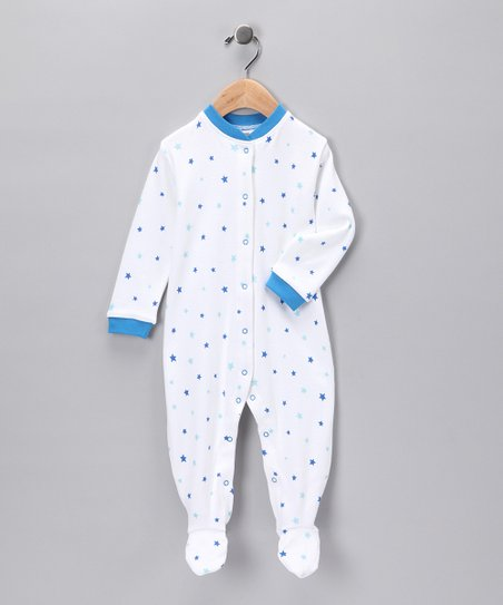 White & Blue Star Organic Footie - Infant
