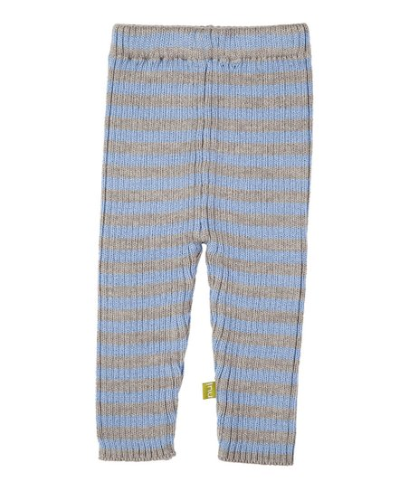 Silver & Blue Stripe Merino Organic Knit Leggings - Infant & Kids