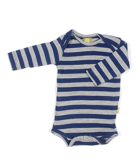 Navy &amp; Silver Stripe Merino Organic Bodysuit - Infant
