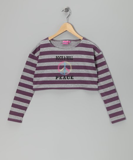 Purple Stripe 'Rock & Roll' Crop Top - Girls