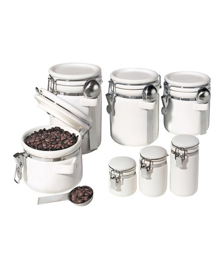White Round 11-Piece Canister & Spoon Set