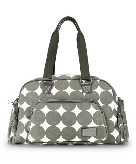 Dove Gray Dots Labor of Love Medium Duffel Bag