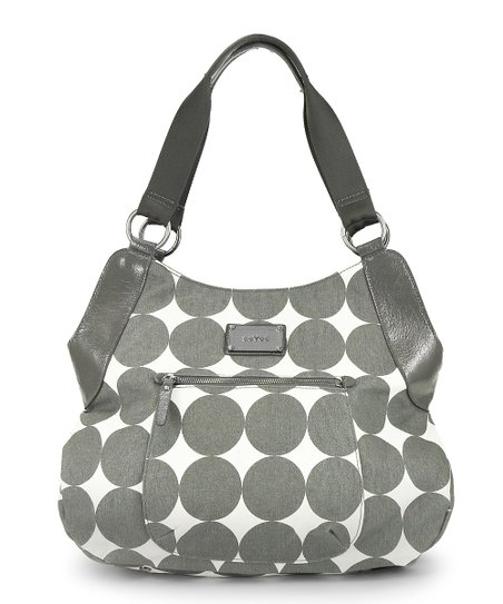 Dove Gray Dots Debbie Tall Hobo Diaper Bag