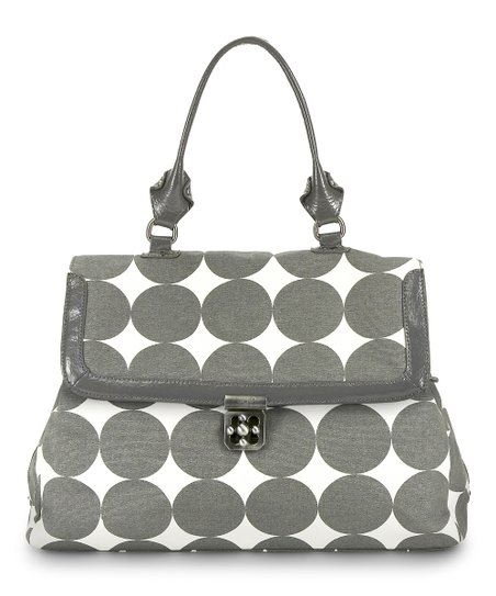 Dove Gray Dots Brooke Diaper Satchel