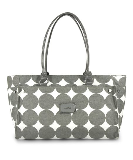 Dove Gray Dots Anna Wide Diaper Bag