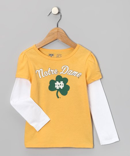 Yellow Notre Dame Clover Layered Tee - Infant & Toddler