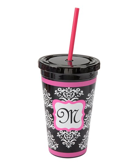Pink & Black Damask Monogram Sipper Cup
