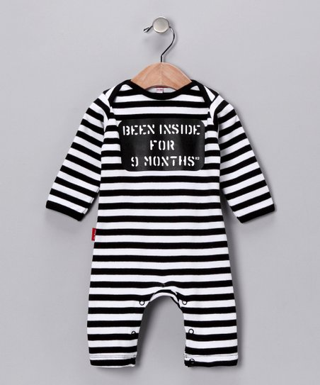 Black & White Stripe 'Been Inside for 9 Months' Playsuit - Infant