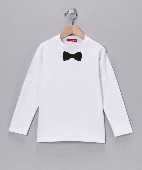 Oh Baby London White Bow Tie Tee - Infant