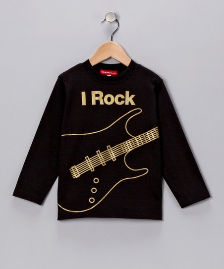 Black & Gold 'I Rock' Tee - Infant, Toddler & Boys
