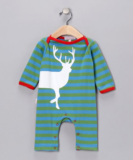 Green & Blue Stripe Stag Playsuit - Infant