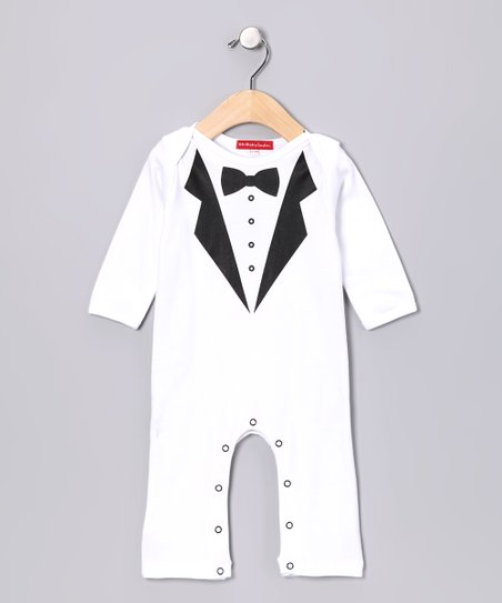 White Tuxedo Playsuit - Infant