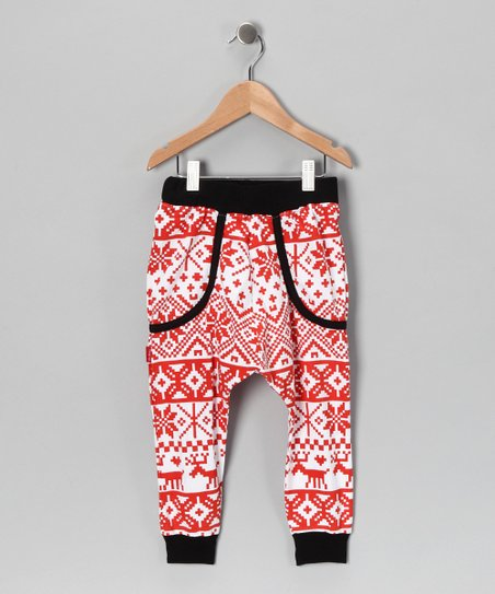 Red Fair Isle Harem Pants - Kids