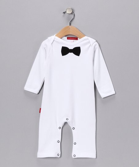 White & Black Bow Tie Playsuit - Infant