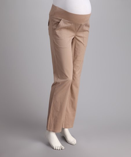 Khaki Under-Belly Maternity Bootcut Pants - Women