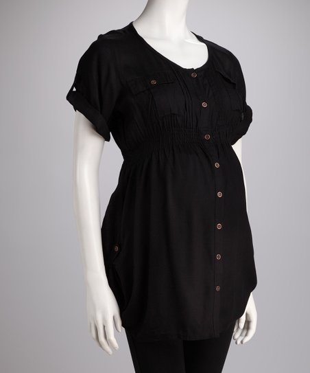 Black Maternity Button-Up Tunic