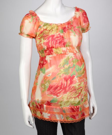 Orange Flower Chiffon Maternity Peasant Top