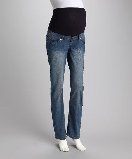 Light Wash Gem Over-Belly Maternity Straight-Leg Jeans - Women