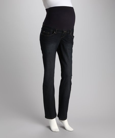 Rinse Wash Gem Over-Belly Maternity Straight-Leg Jeans