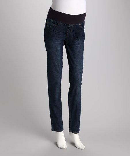 Medium Wash Under-Belly Maternity Skinny Jeans - Women