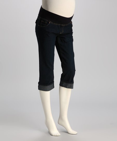 Dark Wash Under-Belly Maternity Capri Jeans - Women
