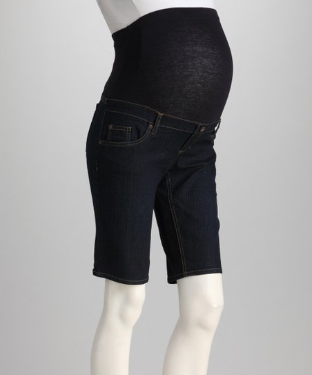 Dark Denim Over-Belly Maternity Bermuda Shorts
